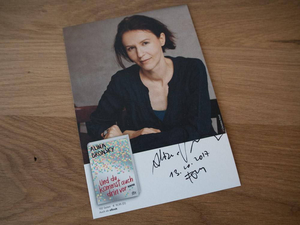 Autogramm von Alina Bronsky.