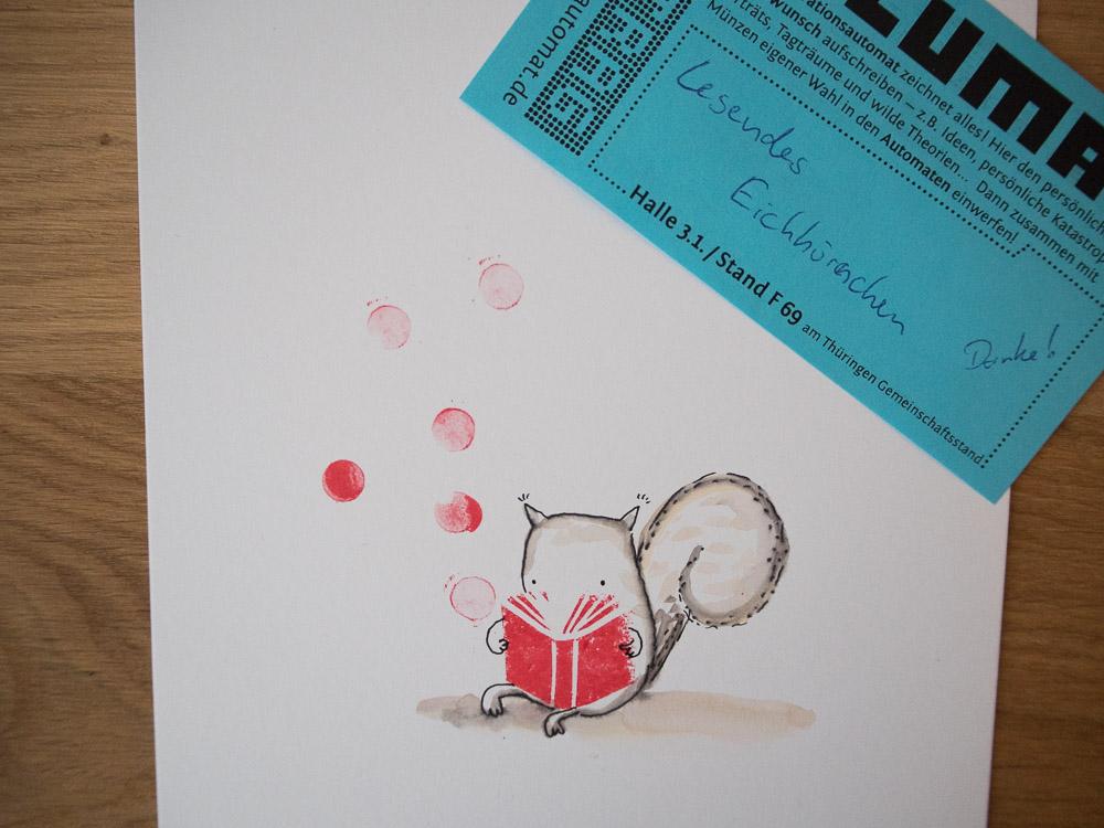 Bild 1 aus dem Illumaten: Ein lesendes Eichhörnchen.