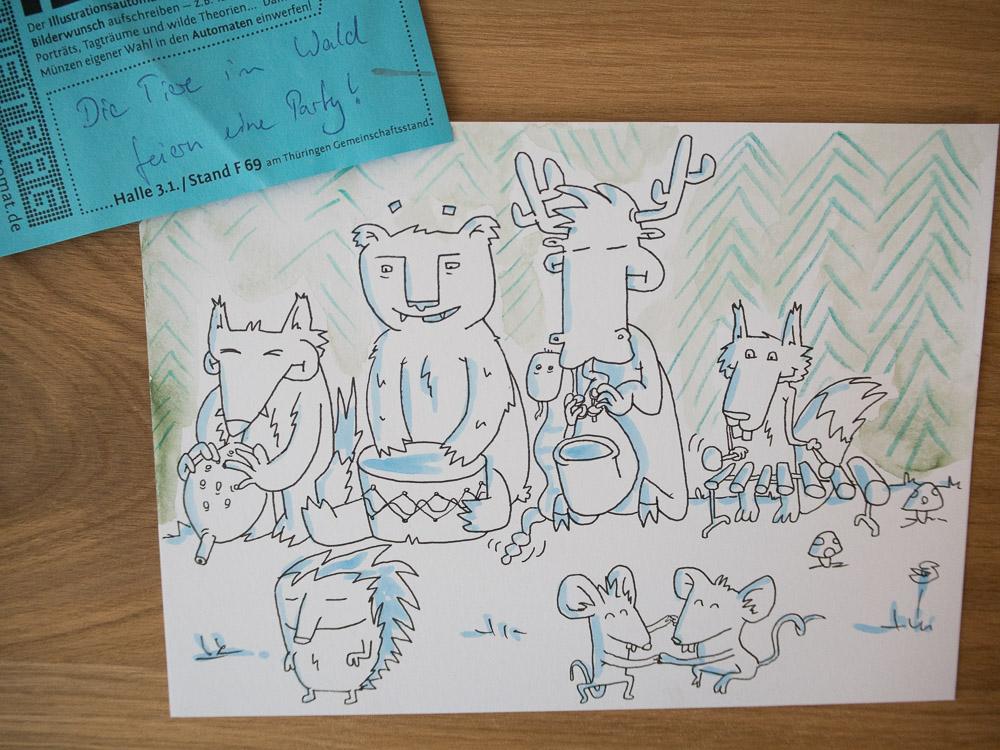 Bild 3 aus dem Illumaten: Tiere im Wald feiern eine Party.
