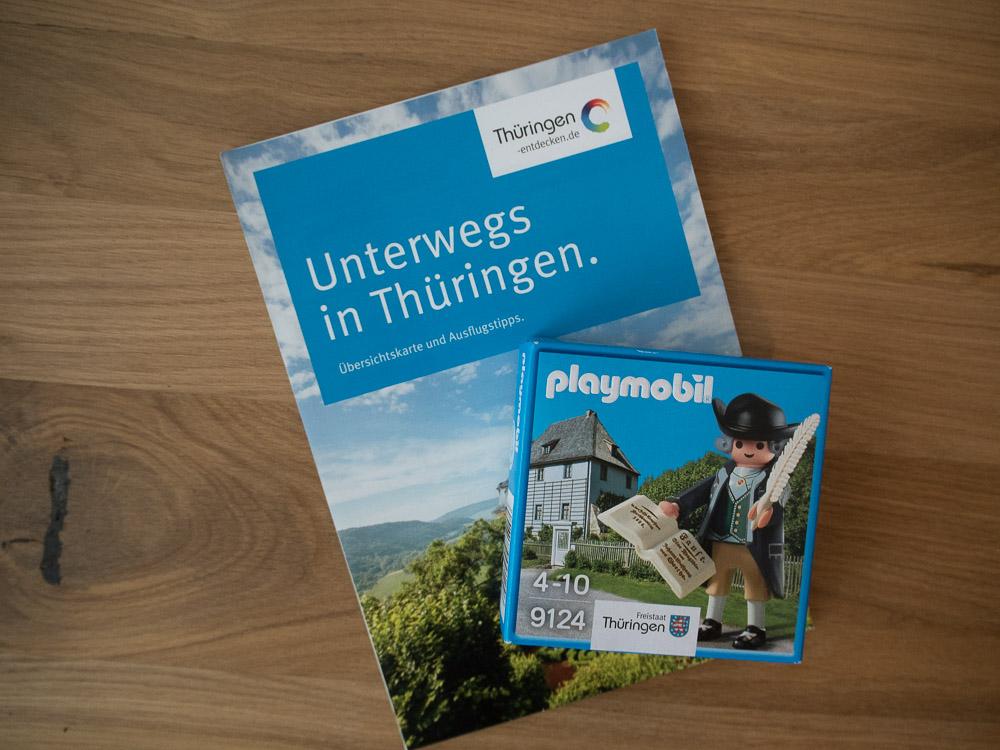 Am Thüringen-Stand gab es neben dem Illumaten auch Material für den nächsten Thüringen-Ausflug und einen Playmobil-Goethe.